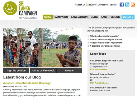 Sri Lanka Campaign website