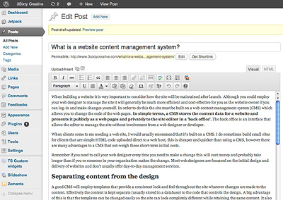 WordPress content management system back office