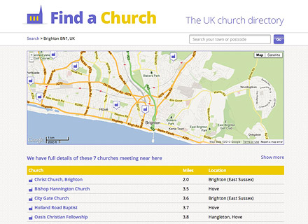 Find a Church website