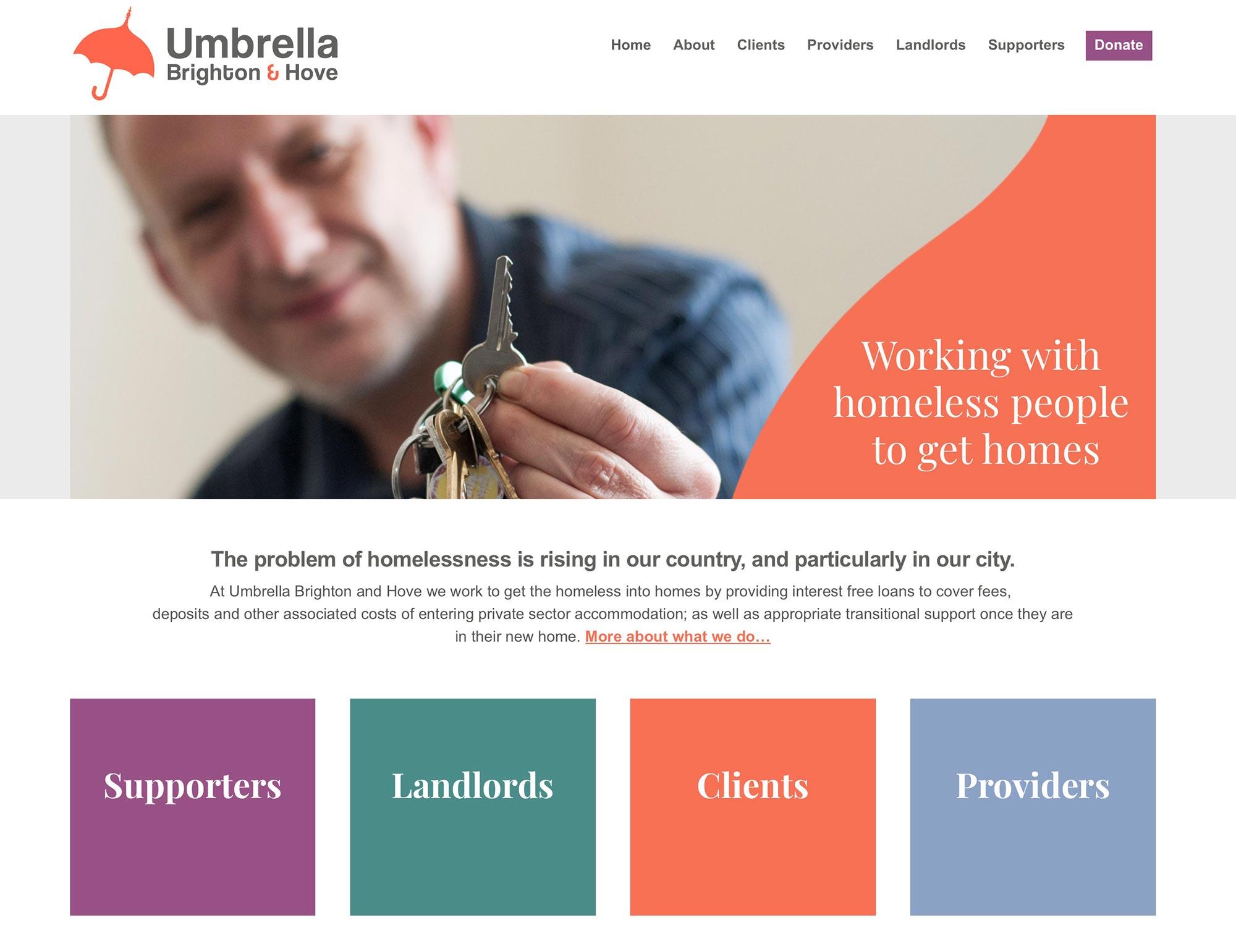 Umbrealla homeless charity Brighton